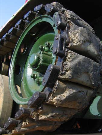 belong: Caterpillar Tracks -- these belong to an aging tank Stock Photo