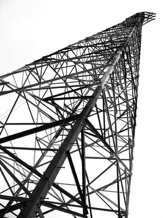 Large Power Mast  -- for high-voltage power transmissions Stock Photo