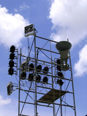 Stage Lights and Sounds Effects -- seen at an outdoor concert photo