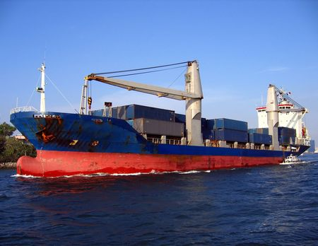Large Container Ship -- leaving Kaohsiung harbor Stock Photo - 453518