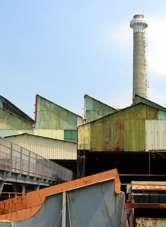 Old Factory -- with a high chimney Stock Photo - 528016