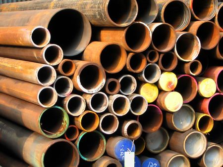 Rusty Iron Pipes -- of various diameters photo