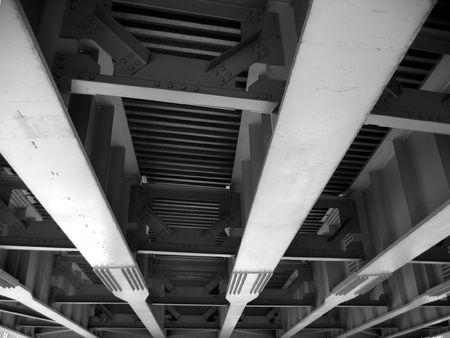 girders: Highway Bridge -- seen from underneath with its steel girders Stock Photo