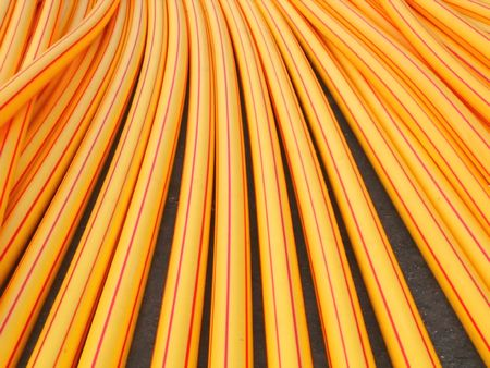 Industrial Cable Covers-- for the laying of underground cables Stock Photo