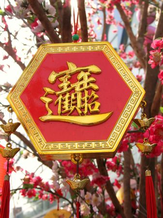 superstitious: Chinese New Year Ornament -- a lucky charm with a Chinese character that spells riches and prosperity Stock Photo