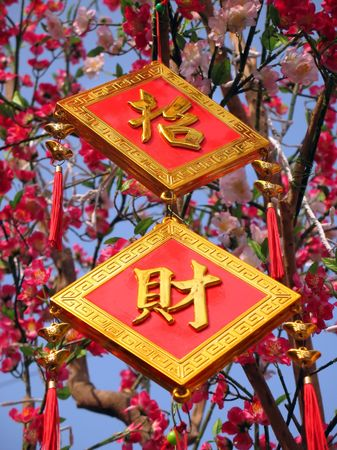 Chinese New Year Designs -- lucky charms with Chinese characters that spells riches and prosperity Stock Photo - 734132