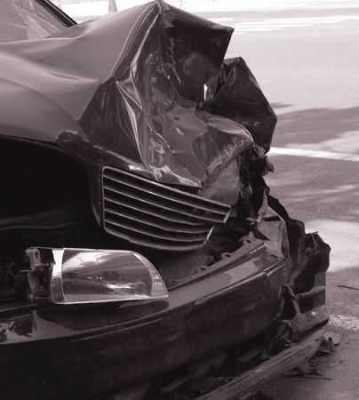 Car Wreck -- result of an impact with another vehicle
