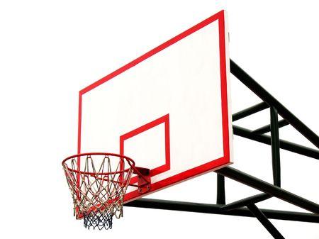 backboard: Basketball Hoop -- and backboard seen against a white background
