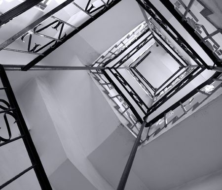 stairwell: Winding Stairwell -- a rectangular spiraling staircase in an old tower