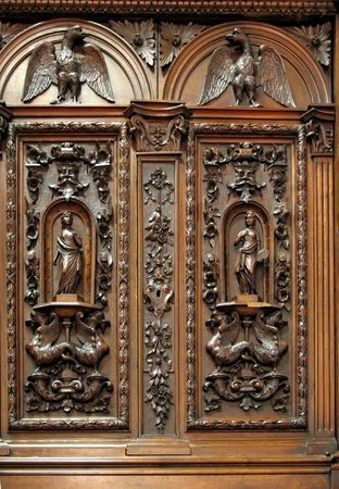 Old Closet with Wood Carvings -- beautiful Dutch colonial furniture from the 17th century Stock Photo