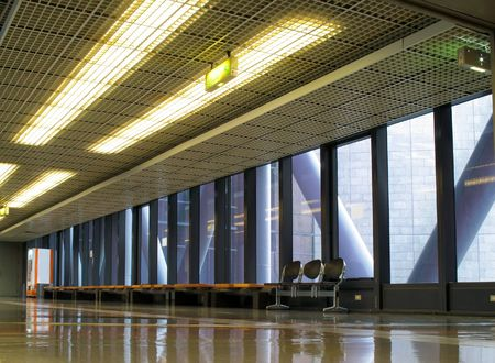 hallway and benches in a large public building Stock Photo