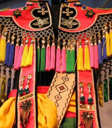 taiwanese: Tribal Dress -- a colorful Taiwanese aboriginal dress design detail