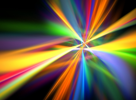 Digital Lightshow -- multi-colored beams of light create a virtual firework