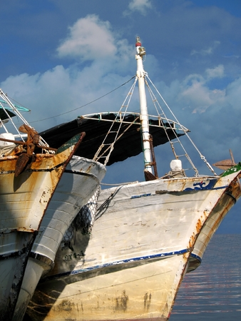 Old Fishing Boats -- anchored in a port in the south of Taiwan Stock Photo - 1677895