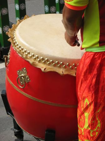 chinese drum: Chinese Drummer -- this type of drum is called Tagu in Chinese and Taiko in Japanese Stock Photo