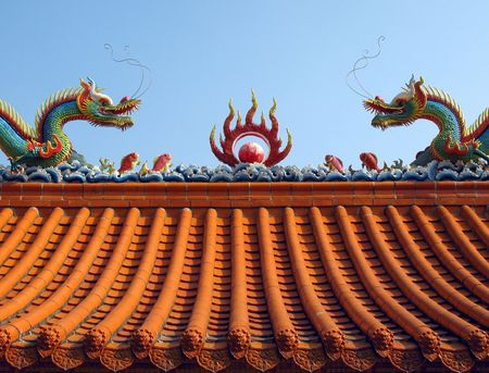 Chinese Temple Roof -- Ridge of Chinese temple decorated with a mythological dragons Stock Photo - 2308620