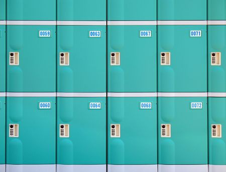 Row of Lockers -- using a three digit number combination lock photo