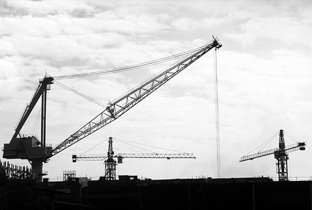 pulleys: Large Scale Construction -- with a number of different types of cranes