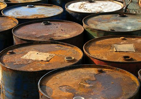 Rusty Oil Barrels -- corroding containers for oil and other fuel