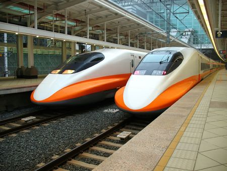 Modern High Speed Train -- two engines of the recently finished Taiwan high speed railway