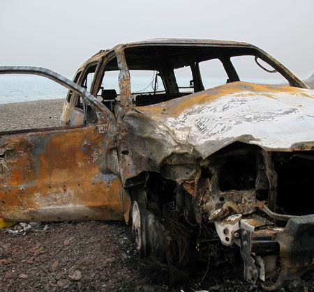 burned out: Burned Out Car Wreck -- the result of a serious car accident