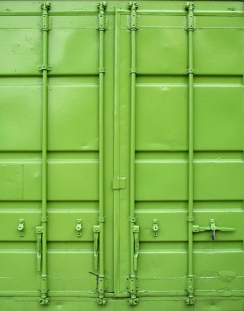 Green Container -- the backside of a large container used for shipping