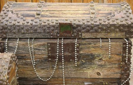 seemingly: -- a wooden chest seemingly filled with jewels Stock Photo