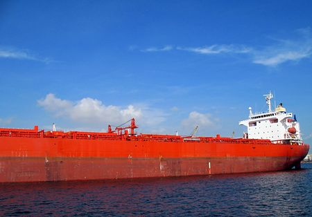 astern: Supertanker -- it is anchored in Kaohsiung Harbor, Taiwan Stock Photo