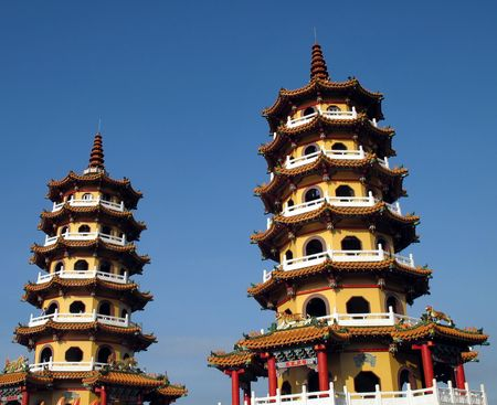Two Pagodas -- the Spring and Autumn Pagodas in Kaohsiung, Taiwan Stock Photo