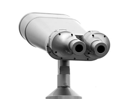 concave: A binocular telescope as used by tourists Stock Photo