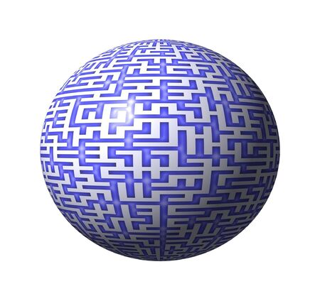 A spherical maze with blue pattern on white photo