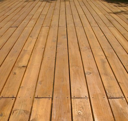 Wooden Deck -- made from large planks in natural wood color