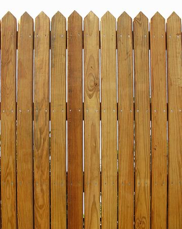 Wooden Fence  -- with slats that show the natural wood pattern Stock Photo