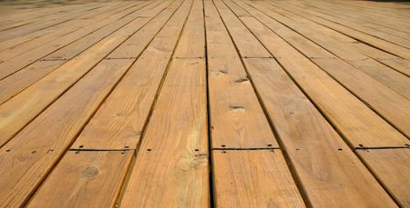 Wood Deck -- made from large planks in natural wood color Stock Photo