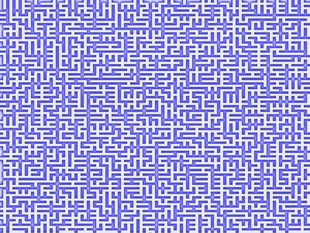 perpendicular: An intricate maze with a blue pattern on white Stock Photo