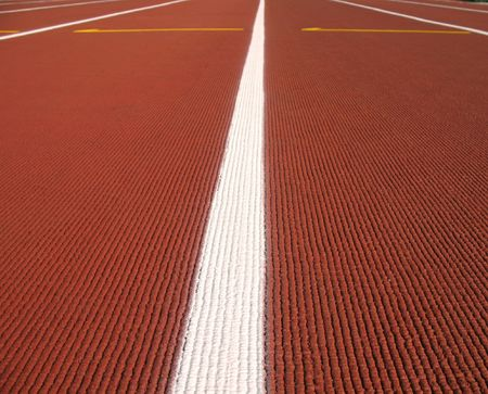 cushioned: Low lying view of an athletic rubber cushioned track