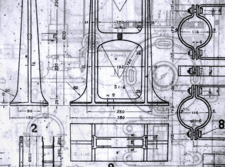vellum: A stack of old railway design blueprints printed on vellum paper Stock Photo