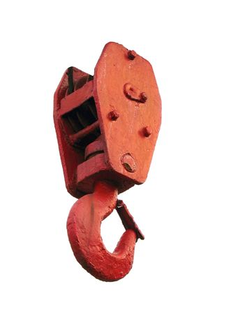hinge joint: A strong red painted hook of a small crane Stock Photo