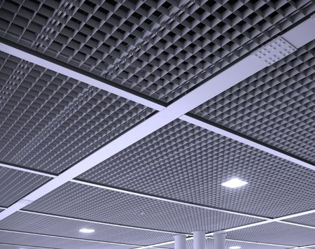 ceiling texture: A modern interior ceiling structure composed of square elements