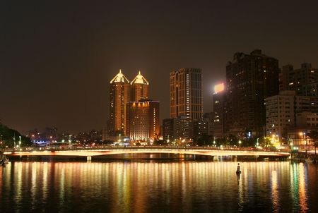 The Love River in downtown Kaohsiung at evening time