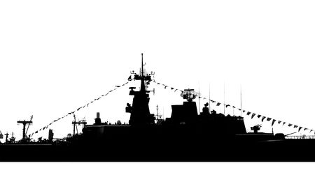 destroyer: A silhouette of a destroyer armed with missiles and guns