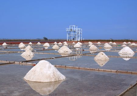 Salt fields with gathered up sea salt in southern Taiwan Stock Photo