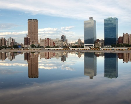 A view of the skyline of Kaohsiung with a beautiful reflection