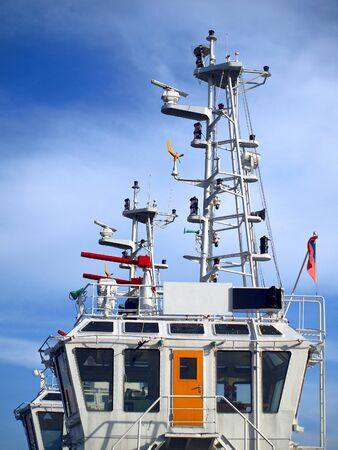 coastguard: Mast and navigational equipment of a coastguard vessel