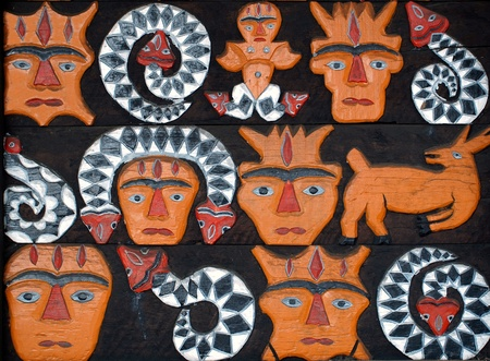 Decorated colorful wood art by Taiwan native inhabitants