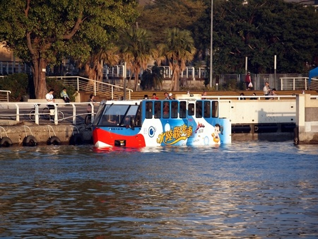 introduces: KAOHSIUNG, TAIWAN - MARCH 2011: Kaohsiung City in Taiwan introduces its new amphibious sightseeing bus that can navigate the Love River; Kaohsiung, March, 2011