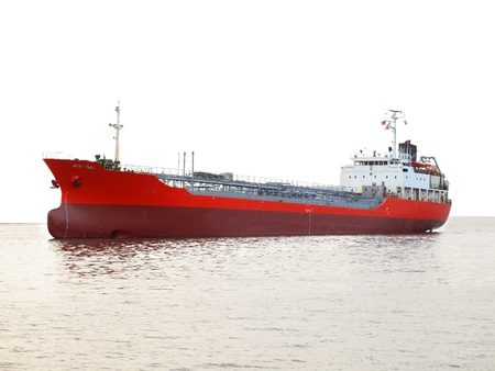 A commercial petroleum bulk transport ship against a white background