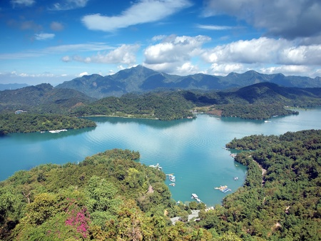 taiwan scenery: A partial view of the famous Sun Moon Lake in Nantou, Taiwan