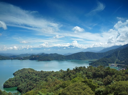 A view of the beautiful Sun Moon Lake in Taiwan with the Central Mountains in the back