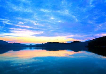 Early morning dawn at the beautiful Sun Moon Lake in Taiwan Stock Photo